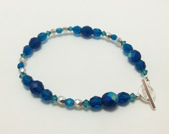 Dark Blue Silver Bracelet Blue Beaded Bracelet Sterling Silver Toggle Clasp Single Strand Bracelet