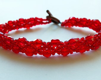 Beaded Jewelry Bright Red Bracelet Red Jewelry Beaded Bracelet Copper