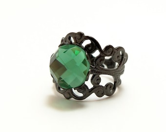 Adjustable Green Ring Glass Cocktail Statement Ring Dark Silver Gunmetal Gothic Ring Victorian Style Antiqued Vintage Style Emerald Green