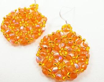 Orange Dangle Earrings Orange Circle Earrings Sterling Silver Beadwoven Earrings Halloween Jewelry