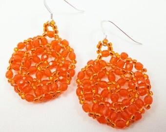 Pumpkin Orange Beaded Earrings Halloween Dangle Earrings Halloween Jewelry Sterling Silver Autumn Fall Season October