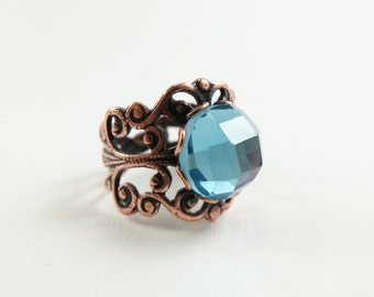 Sky Blue Ring Copper Ring Light Blue Adjustable Ring Bright Jewelry