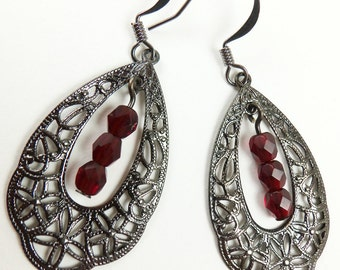 Gunmetal Filigree Earrings Red Jewelry Teardrop Dangle Earrings Dark Silver