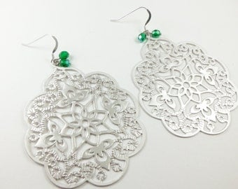 Large Earrings Green and Silver Statement Earrings Silver Jewelry Filigree Earrings Metal