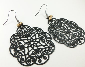 Gold Black Filigree Earrings Large Statement Dark Jewelry