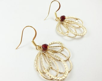 Gold Earrings Red Jewelry Metal Feather Loopy Earrings