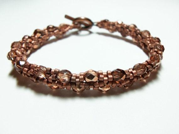 Copper Bracelet Beaded Jewelry Bright Copper Sead Beads Copper Toggle Clasp