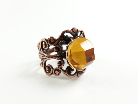 Orange Ring Copper Ring Adjustable Ring Orange Jewelry Copper Jewelry