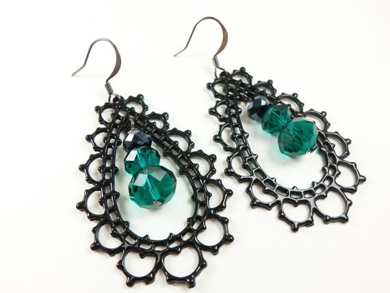 Dark Green Dangle Earrings Black Green Earrings Large Filigree Dark Earrings Gunmetal Teardrop Earrings