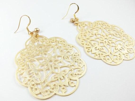 Large Gold Earrings Bohemian Statement Earrings Large Dangle Earrings Gold Jewelry