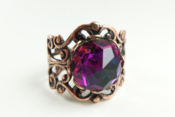 Rainbow Ring Crystal Ring Pink Copper Jewelry Adjustable Ring