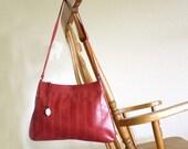 Vintage Purse Brazilian Dark Red Shoulder Bag Med - Large Top Stitching Stripes Down the Front Under 25