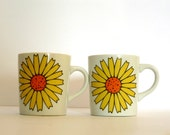 Vintage Two Coffee Mugs - Ceramic Coffee Cup - Valentines Day - Men Women - Large Daisy Floral Design - Cup Set - Under 15