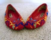 Vintage Loafer Shoe Caparros Women's Teen Slides Flats Rubber Soles Teen Girls Fashion Red Size 6 1/2 B Orange Royal Blue Price Under 30