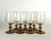 Vintage  7 Drinking Glasses Wine or Water Fancy Dinner Party Clear Brown Stem Stemware Stem Ware Home Decor  Under 20
