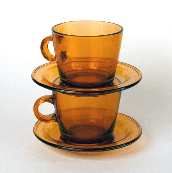 Vintage Glass Coffee Tea Cups and  Saucer Setof 4 Mustard Yellow Amber Holiday Gift