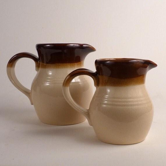 Vintage 2 Ceramic Pitchers or Jugs Creamer Syrup Gravy Boat Matching Small Medium