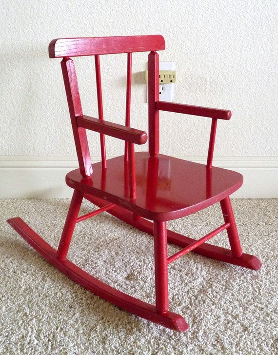Vintage childs red rocking chair