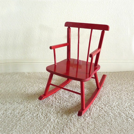 Little Red Rocking Chair ~ Vintage childs red rocking chair