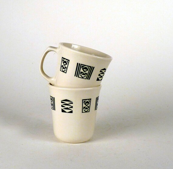 Vintage Coffee Cup Mug 1980s 1970s Black and White Geometric Shapes Unisex Men Women Under 10