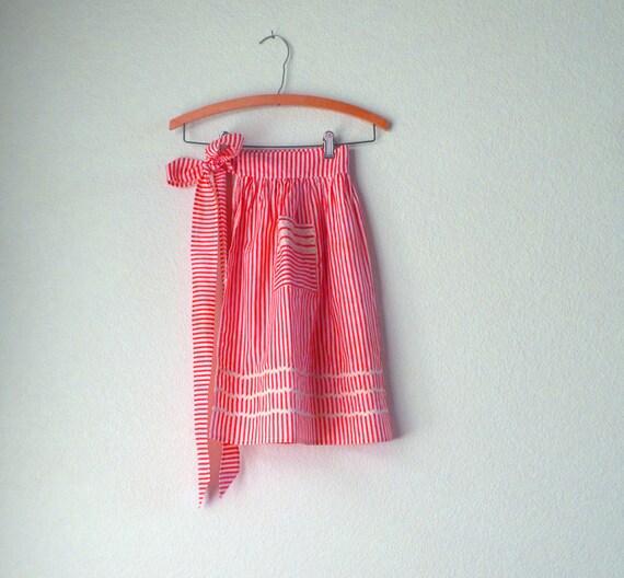 Vintage Apron Half Kitchen Dirndl Skirt Sash Antique 1960s Red White Candy Stripe Girls Teen Girls Women Men Gift Under 20 USD