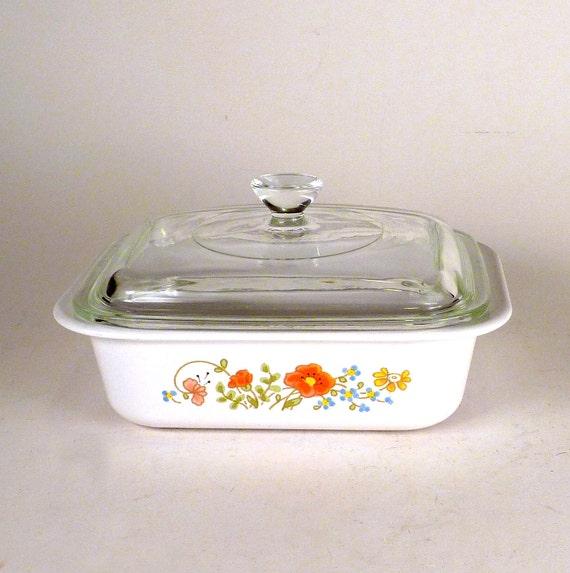 Vintage Ceramic Retro Corning Ware Wild Flower Casserole Dish & Lid 4 Servings Olive Green Orange Kitchen Decor 1978 -1988 Priced Under 15