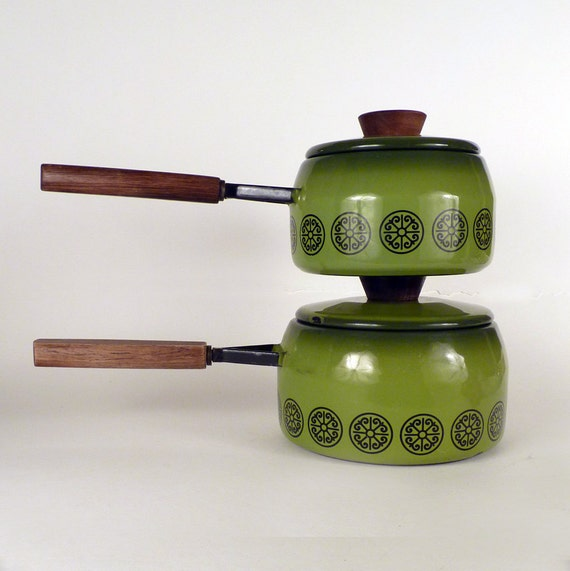 Vintage Cooking Pots and Pans Enamel Coat Kelly Green Kitchen Serving Wood Handles Double Boiler Home Decor Housewares Serving Under 30