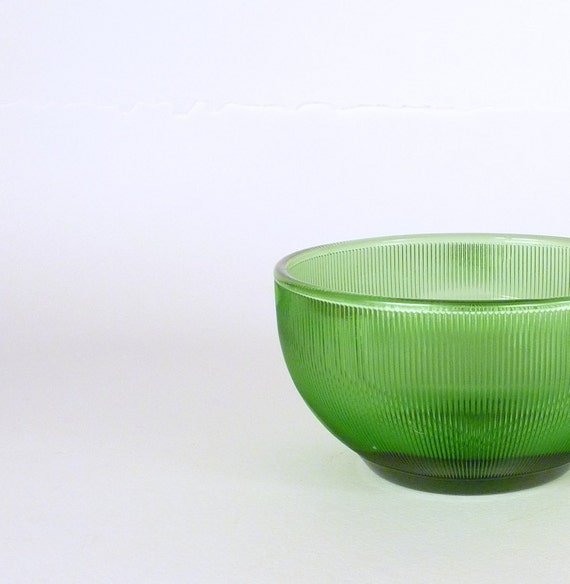 Vintage Cereal Bowl Green Clear Glass V. Ribs texture Vase Orange Flowers Home Decor Housewares Serving Price Under 10