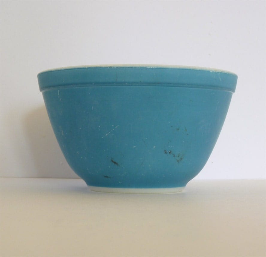 Vintage Pyrex Blue Mixing Bowls Oven Ware 1950s 1960s By