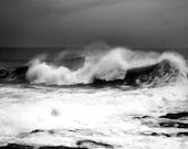 Black and White Art,  Seascape Photography,  Nature,  Ocean Wave, Hurricane Earl Print,  11X14 Mat,  Wall Art,  Ready to Frame