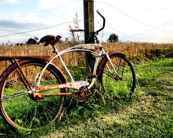 Rustic Decor, Rural Scene, Bicycle, Fine Art Photography, Wall Art,11X14 Mat, Landscape Photography, Ready to Frame