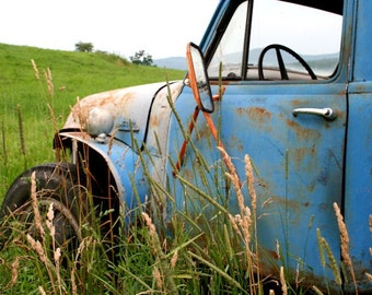 Rustic Blue Truck, Vermont, Fine Art Photography, 16X20  Mat,  Wall Art,  Landscape, Wall Hanging,  Ready to Frame, New England