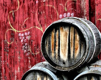 Wine Barrels,  Kitchen Decor, Red, Rustic Art,  Fine Art Photography, 11X14 Mat, Grapevine, Ready to Frame