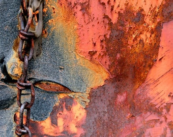 Orange Rust, Modern Art, Fine Art Photography, Bold Color, 11X14 Mat, Chained Print, Ready to Frame, Peeling Paint