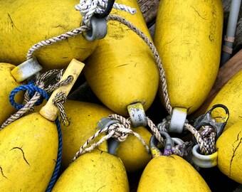 Fine Art Photography, Yellow Buoys, 8X10 Mat, Ready to Frame, Nautical, Wall Art, Fishing, Lobster Buoys