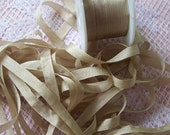 Pure Silk Ribbon 7 mm 1/4 inch wide 10 yards Champagne/Beige Color