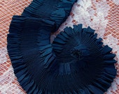 Pure Silk  Ruched Plisse  Ribbon 2 inches wide Midnight/Blue Color