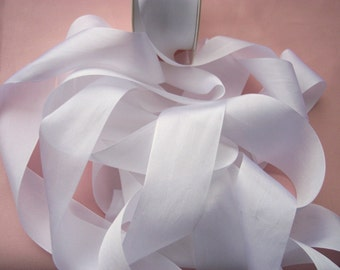 Pure Silk Ribbon  White 36mm 1 1/2  inch wide 3yards