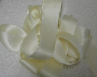 Pure Silk Satin  Ribbon Ivory Color 1 1/2 inch wide 3 yds