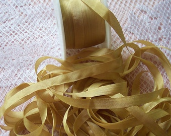 Pure Silk Ribbon 7 mm 1/4 inch wide 5 yards  Sunset/Gold Color
