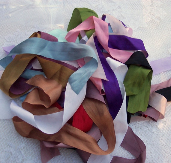 Pure Silk Ribbon Great  Assorted Colors 13 yards 1/2 inch lenghts