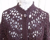 1970's Hand-Crocheted Shawl Brown Vintage Buttons