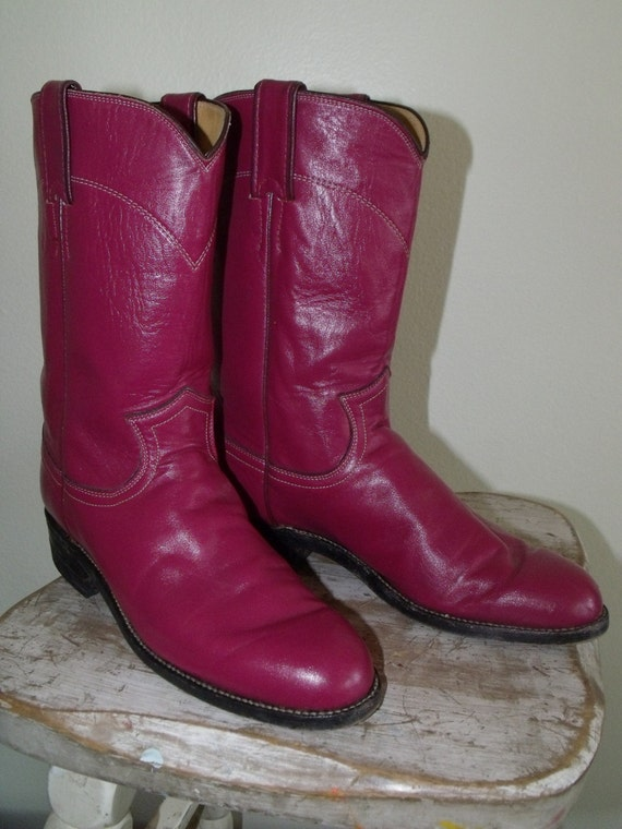Vintage Hot Pink Justin Western Roper By Recollectionclothing