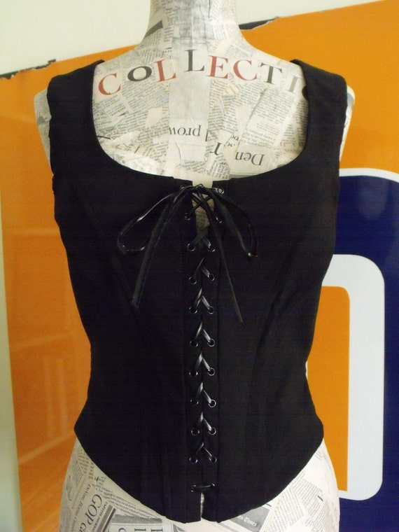 Vintage Bebe Corset Top, Front Laces, Bustier, Steampunk, Goth