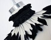 "Feather Collar Choker Ruffle Necklace Silk Collar Wispy Iridescent Coque Feathers - ""Twisted Dreams"""