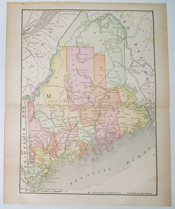Vintage 1899 State Map of Maine Colored Map