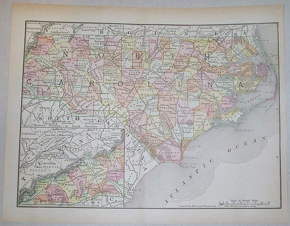 Vintage 1899 State Map of North Carolina Colored Map