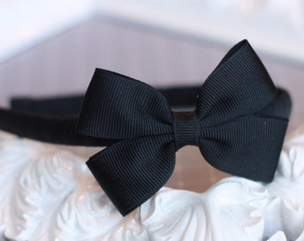 Pinwheel Bow Headband - Black - 65 Colors Available (Fits Toddler through Adult)