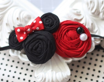 Minnie Mouse Inspired  Headband - Double Rosette on Skinny Elastic - Red and White - Fits Toddler through Adult