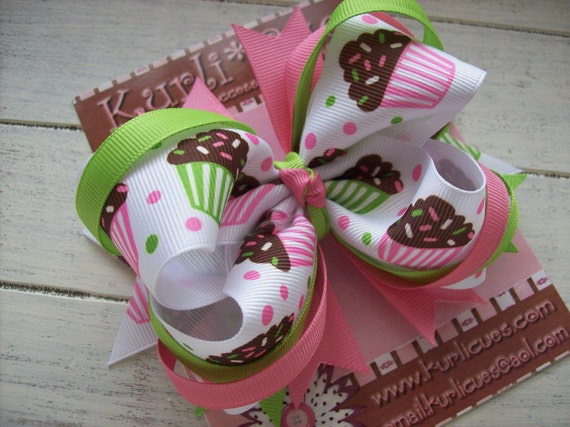 KurliCues Loopy Layered CUPCAKE Boutique Hair Bow - PINK/GREEN